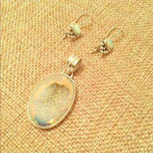 Jewelry - Women's Opal Earrings and Druzy Pendant